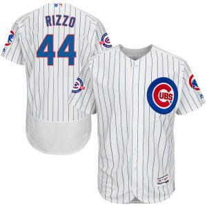 Anthony Rizzo Chicago Cubs Majestic Home Flex Base Authentic Collection Jersey with 100 Years at Wrigley Field Commemorative Patch
