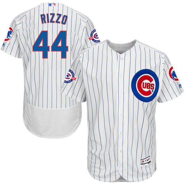 0aadd6194 Anthony Rizzo Chicago Cubs Majestic Home Flex Base Authentic Collection  Jersey with 100 Years at Wrigley