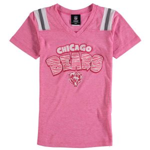 Chicago Bears 5th & Ocean by New Era Girls Youth Zebra Tri-Blend V-Neck T-Shirt