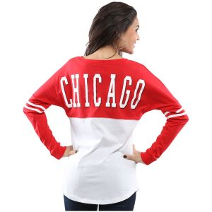 Chicago Blackhawks CCM Women's Lace-Up Henley T-Shirt – Red