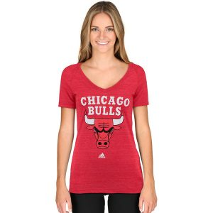 Chicago Bulls adidas Women's Primary Logo Tri-Blend V-Neck T-Shirt