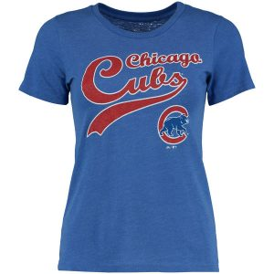 Chicago Cubs Majestic Threads Women's Front and Back Tri-Blend T-Shirt