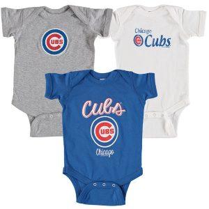 Chicago Cubs Soft as a Grape Infant 3-Pack Rookie Bodysuit Set