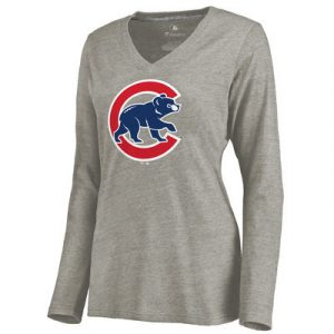 Chicago Cubs Women's Primary Logo Tri-Blend V-Neck T-Shirt