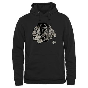 Men's Chicago Blackhawks Black Rink Warrior Pullover Hoodie