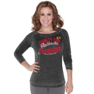 Chicago Blackhawks Touch by Alyssa Milano Women's 2015 Stanley Cup Champions Boatneck Raglan Long Sleeve T-Shirt – Black