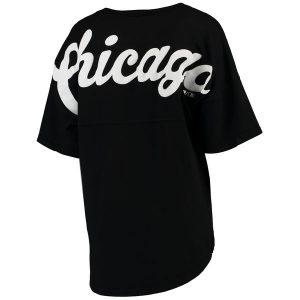 Chicago White Sox Black Oversized Spirit Jersey V-Neck T-Shirt