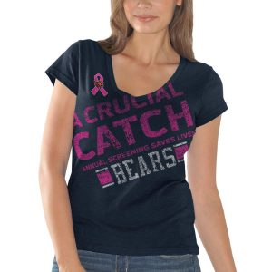 Chicago Bears Women's Breast Cancer Awareness Crucial Catch Fanfare T-shirt in Navy