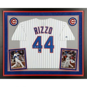 Anthony Rizzo Chicago Cubs Fanatics Authentic Deluxe Framed Autographed White Pinstripe Replica Jersey