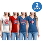 Chicago Cubs Womens Short Sleeve Graphic Tee, 2 Pack, Your Choice