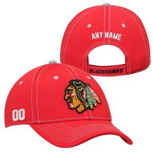 Chicago Blackhawks Custom Name and Number Adjustable Hat – Red