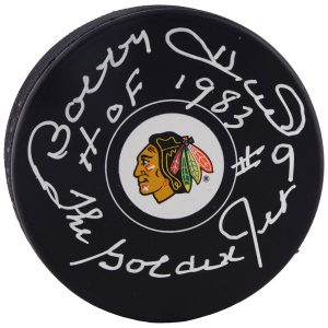 Bobby Hull Chicago Blackhawks Fanatics Authentic Autographed Team Logo Puck with Multiple Inscriptions
