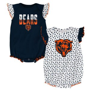 Chicago Bears Newborn Girl's Polka Fan Bodysuit 2-Pack
