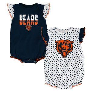 Chicago Bears Newborn Girl's Polka Fan Bodysuit 2-Pack