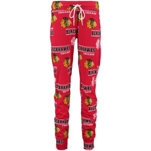 Chicago Blackhawks Concepts Sport Women's Fusion Allover Print Cuffed Knit Pajama Pant