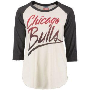 Chicago Bulls Junk Food Women's Raglan Three-Quarter Sleeve T-Shirt