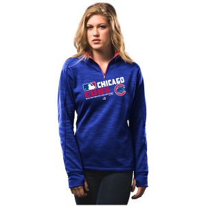 Chicago Cubs Majestic Women's Authentic Collection 1/4-Zip Streak Fleece Jacket
