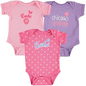 Chicago Cubs Soft as a Grape Girls Newborn & Infant Rookie 3-Pack Bodysuit Set