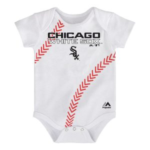 Chicago White Sox Majestic Newborn Stitches Baseball Bodysuit