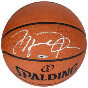 Michael Jordan Chicago Bulls Upper Deck Autographed Official Spalding Basketball Signed in Silver
