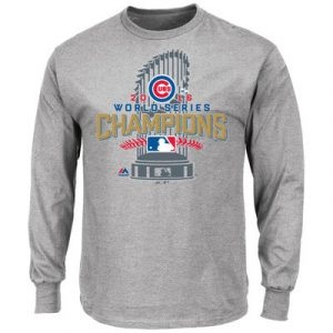 Chicago Cubs Majestic 2016 World Series Champions Locker Room Long Sleeve T-Shirt – Gray