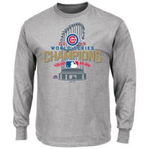 Chicago Cubs Majestic 2016 World Series Champions Locker Room Long Sleeve T-Shirt – Gray