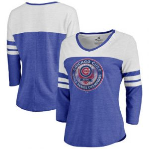 Chicago Cubs Women's 2016 World Series Champions Platoon Color Block Three-Quarter Sleeve Tri-Blend T-Shirt – Royal