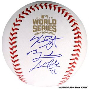 Chicago Cubs Fanatics Authentic 2016 MLB World Series Champions Autographed World Series Logo Baseball – 18+ Signatures