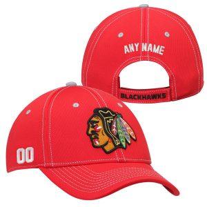 Chicago Blackhawks Custom Name and Number Adjustable Hat – Red